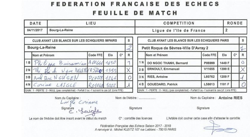 D4 HDS ronde 2 _ Bourg La Reine reçois Sèvres